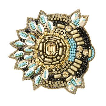 Brass Tribal Clip, Gold/Turquoise1 ea