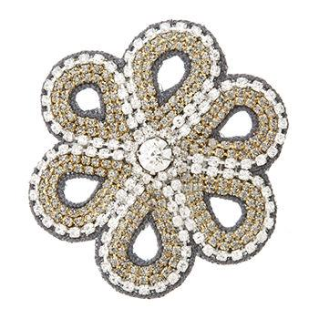 Crystal Flower Clip, Gunmetal1 ea