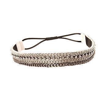 Narrow Glammed Up Leather Headwrap, White/Silver 1 ea