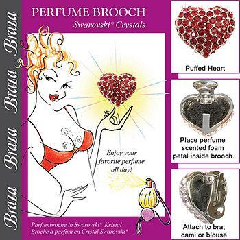 Perfume Brooch-Puffed Heart, Swarovski Crystals, Siam, One Size1 ea