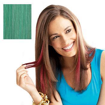 Human Hair Clip-In Color Strip, Teal1 ea