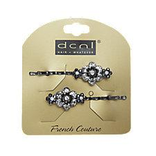 DCNL Black Flower Rhinestone Bobbies