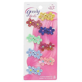 Girls Plastic Flower Jeanwire Barrettes, 8 CT
